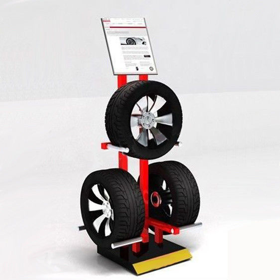 Garage 3 Tyres Cart Wheel Display Rack / Three Sides Alloy Wheel Display Stand