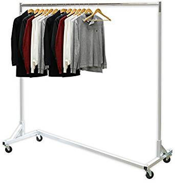 Industrial Heavy-Duty Metal Clothing Display Rack Free Standing Z Shaped Base