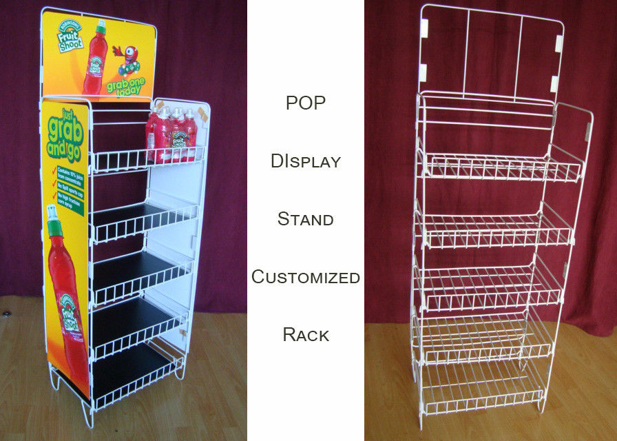 Customize Size Wire Shelf Display Rack  / Graphic Side POP Wire Display Stand