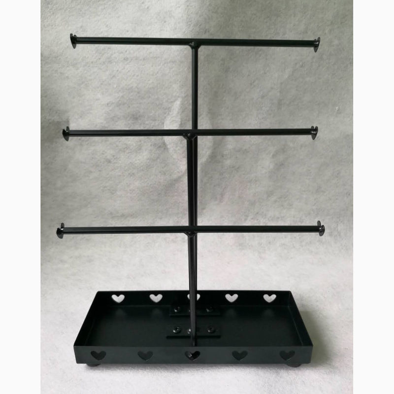 3 Bar Necklace Rotatable Metal Tabletop Display Stands Of Gloss Black Wire