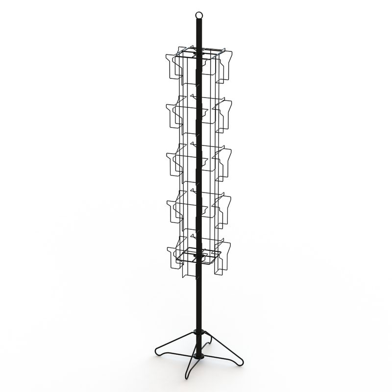 Wire Base Spinner Pockets Rotatable Black Metal Book Display Stand