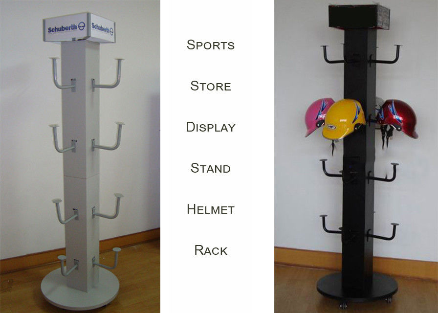 Brand Motorcycle Helmets Wooden and Metal Display Rack with top graphic