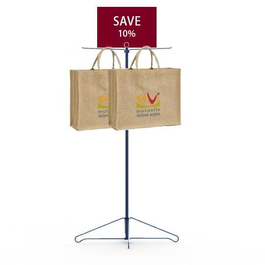 Grocery Promotion Bags Holder Metal Floor Display Stands Two Metal Hooks Long Life