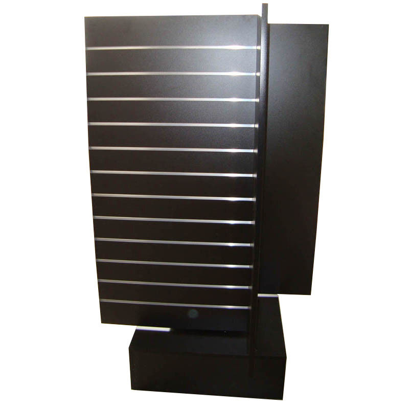 4 Way MDF Rotating Wooden Retail Display Stands With 4 Slat Spinner Panels